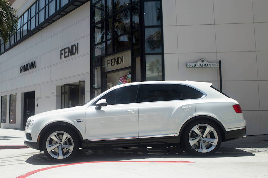 White Bentley Bentayga on Rodeo Drive