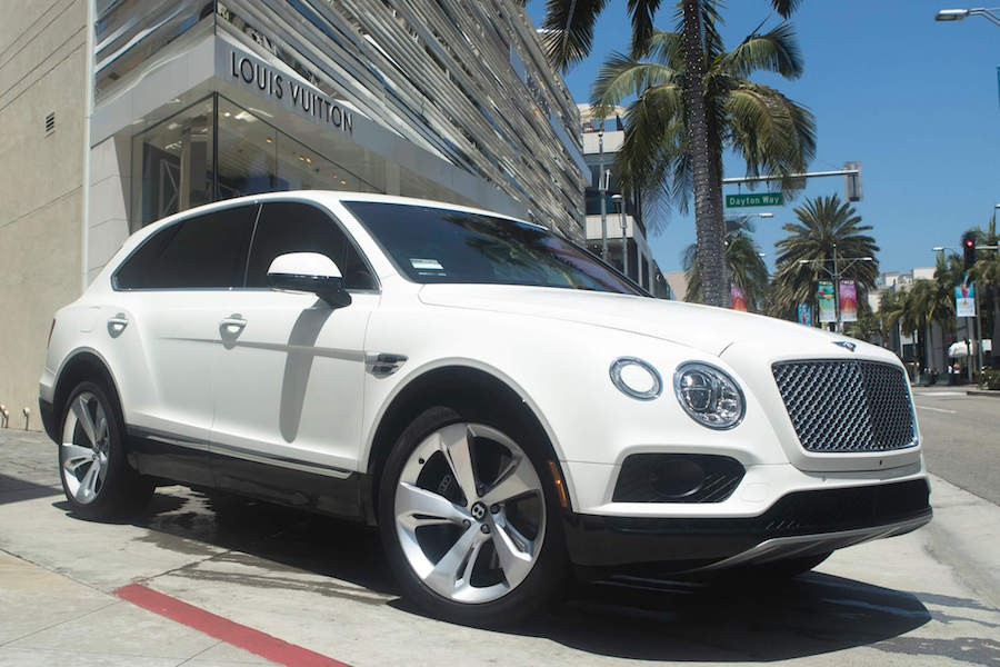 White Bentley Bentayga for rent Los Angeles