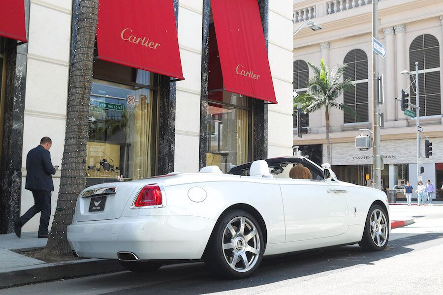 rolls royce dawn on rodeo drive